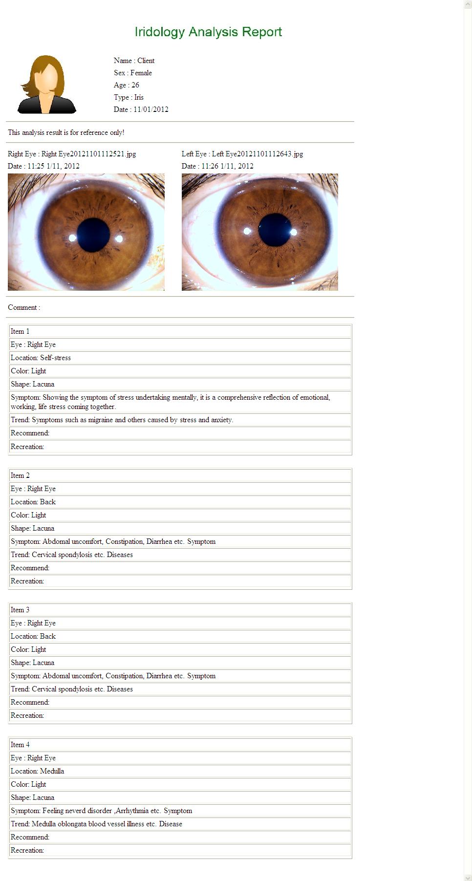 iridology reading report 3